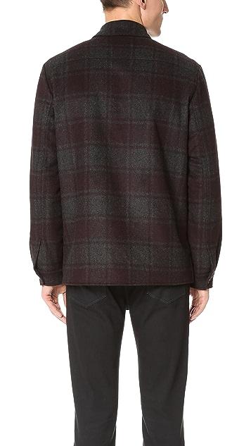 Vince Wool Plaid Military Jacket