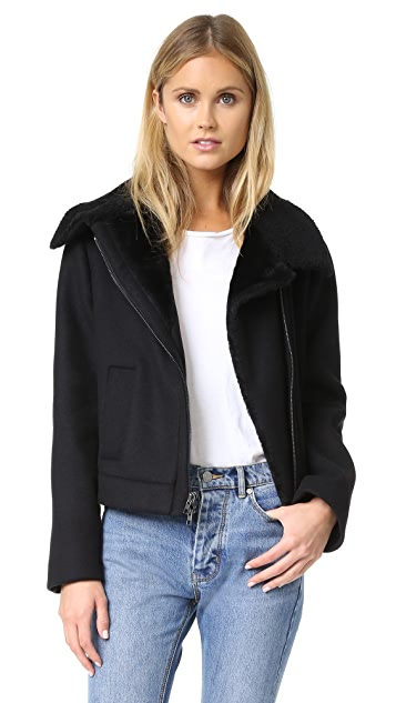 Vince Double Face Wool Shearling Moto Jacket