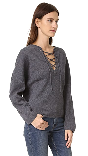 Vince Lace Up Front Sweater