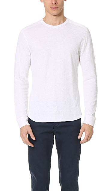 Vince Raw Edge Long Sleeve Crew Neck Tee
