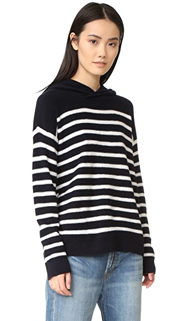 Vince Striped Cashmere Hoodie