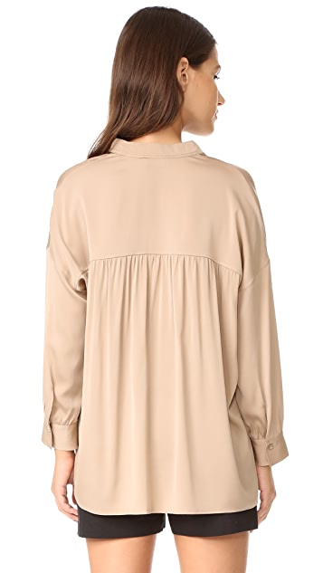 Vince Shirred Drape Pullover Blouse