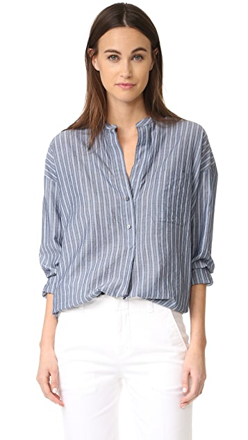 Vince Wide Stripe Pullover Shirt