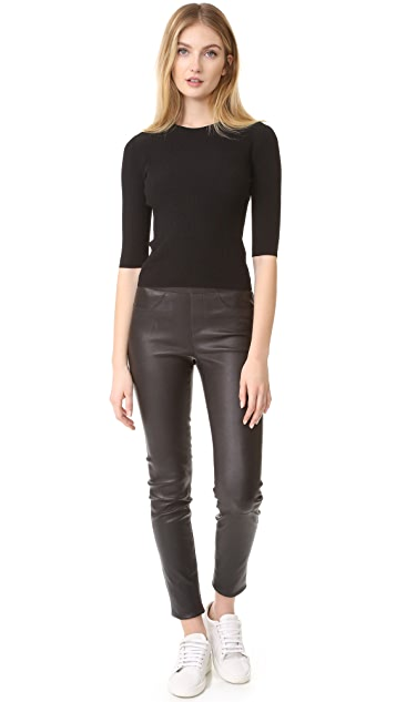 Vince Ribbed Elbow Sleeved Cropped Pullover