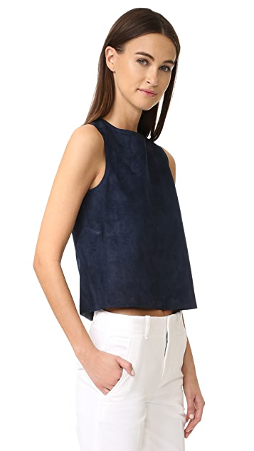 Vince Cropped Suede Shell
