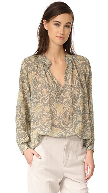 Vince Vintage Floral Pleat Neck Blouse