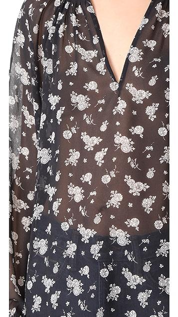 Vince Calico Floral Pleat Neck Blouse