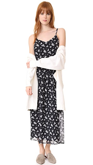 Vince Calico Floral Shirred Waist Dress