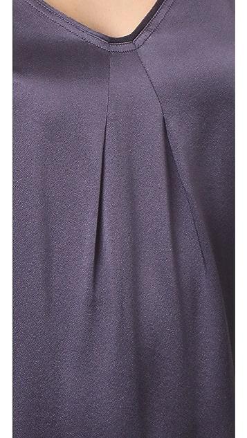 Vince Pleat Neck Slip Dress