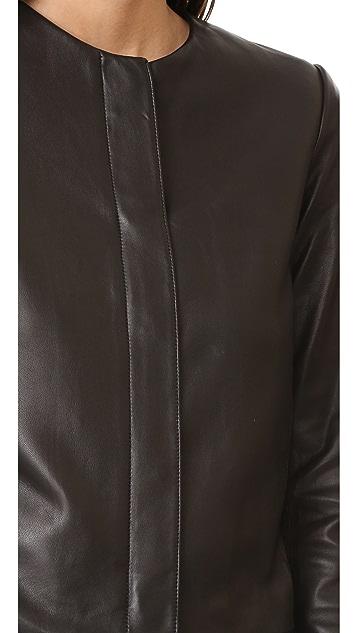 Vince Zip Front Leather Jacket