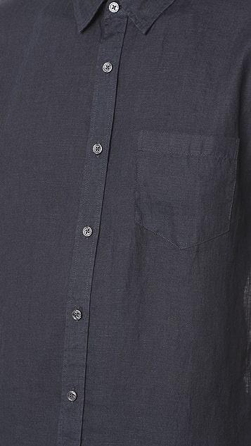 Vince Short Sleeve Natural Linen Shirt