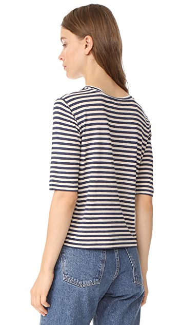 Vince Midi Striped Cropped Tee