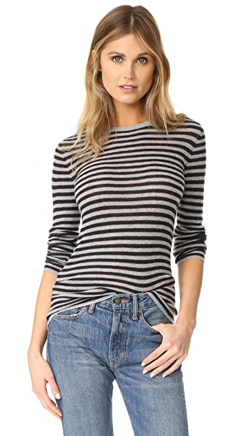 Vince Striped Rib Crew Neck Sweater