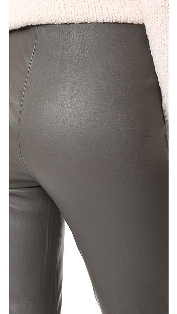 Vince Leather Split Hem Cropped Leggings