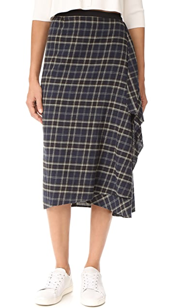 Vince Multi Plaid Drape Front Skirt