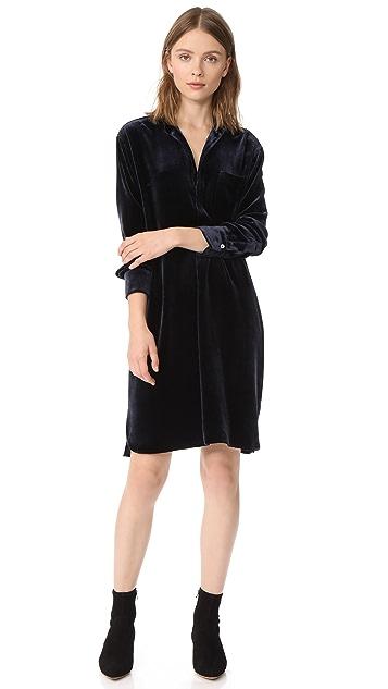 Vince Бархатное платье-рубашка