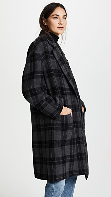 Vince Tonal Plaid Car Coat