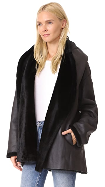 Vince Reversible Shawl Collar Shearling Coat