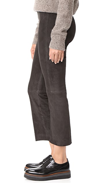 Vince Stretch Suede Flare Pants