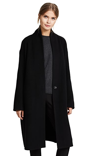Vince High Collar V Neck Coat