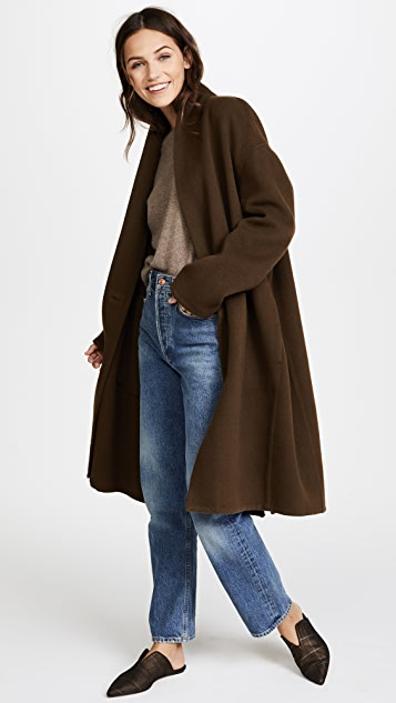 Vince High Collar V Neck Coat