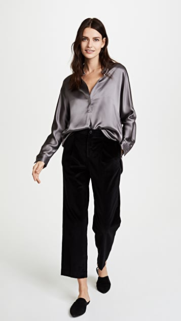 Vince Collar Band Silk Blouse
