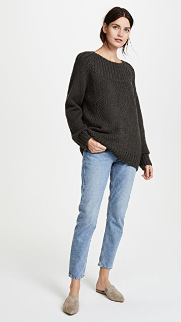 Vince Oversized Popcorn Ribbed Yoke Neck Sweater