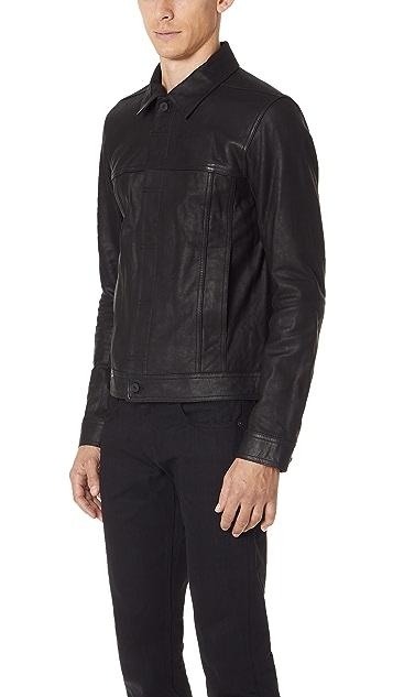 Vince Leather Trucker Jacket