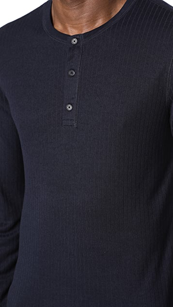 Vince Flat Back Rib Long Sleeve Henley