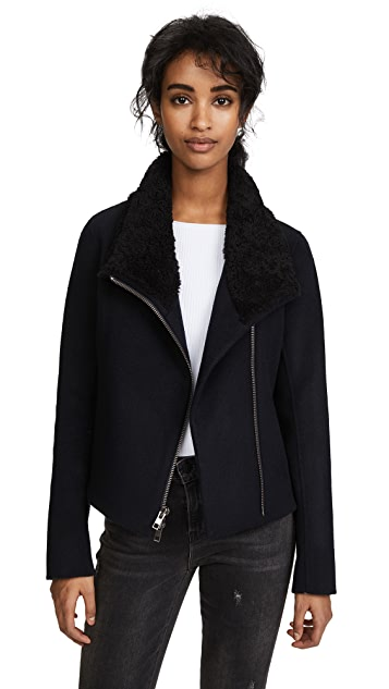 Vince Double Face Shearling Scuba Jacket