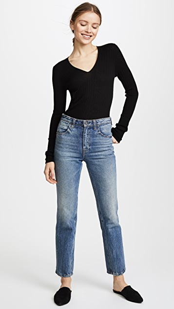 Vince Mixed Rib V Neck Top