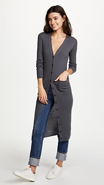 Vince Mixed Ribbed Long Button Cardigan | SHOPBOP