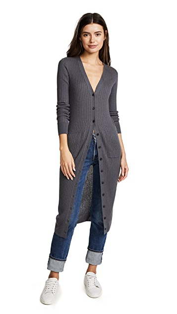 Vince Mixed Ribbed Long Button Cardigan