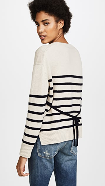 Vince Striped Tie Back Boxy Crewneck