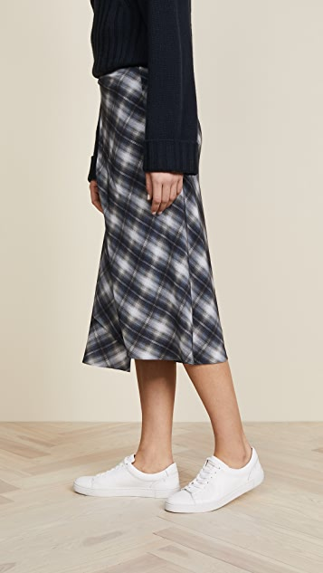 Vince Shadow Plaid Side Drape Skirt