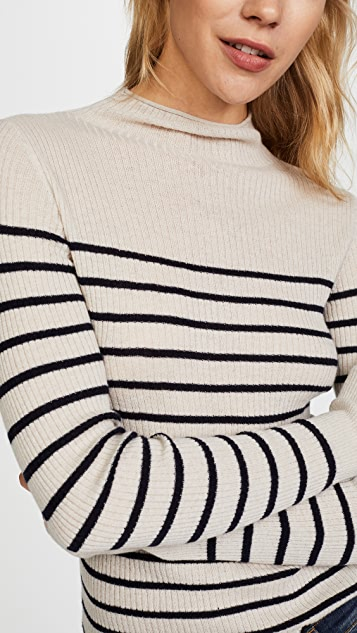 Vince Striped Roll Edge Mock Pullover