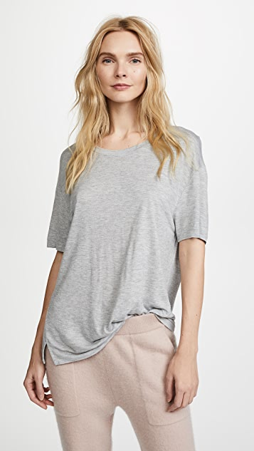 Vince Short Sleeve Drapey Crew Tee - Heather Grey