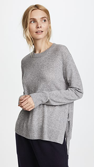 Vince Side Tie Cashmere Crew Sweater