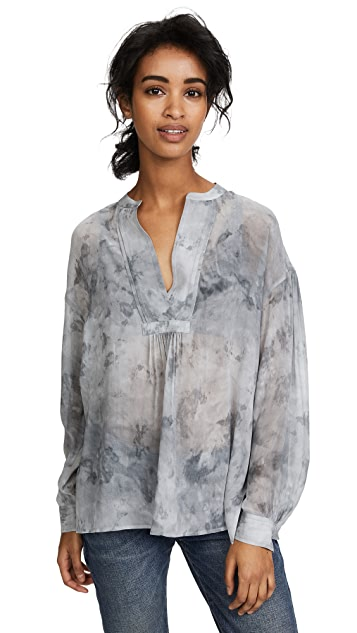 Vince Marble Shirred Blouse