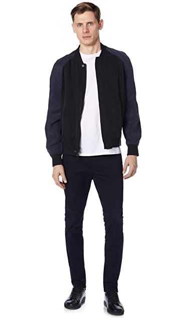 Vince Washed Satin Bomber Jacket