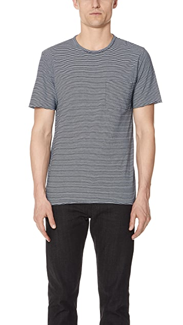 Vince Feeder Stripe Short Sleeve Tee