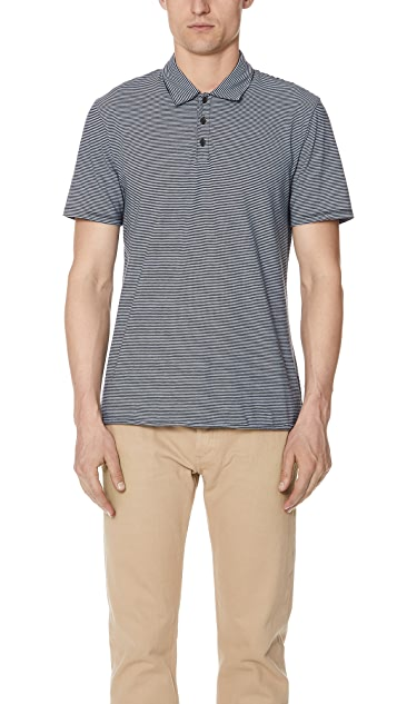 Vince Feeder Stripe Short Sleeve Polo Shirt