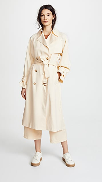 Vince Drapey Satin Trench Coat Shopbop