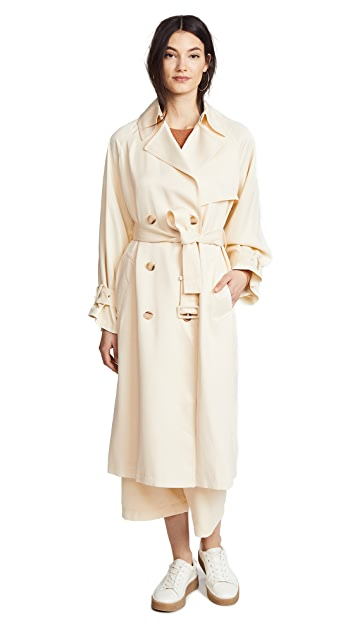 Vince Drapey Satin Trench Coat