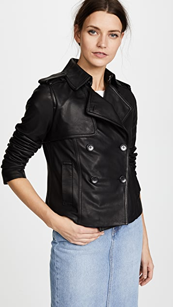 Vince Leather Crop Trench Coat