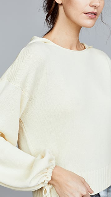 Vince Scrunch Crop Hooded Sweater