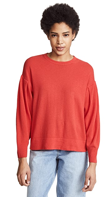 Vince Pleated Cashmere Crew Sweater