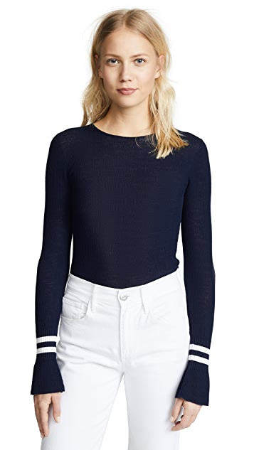 Vince Striped Cuff Crew Sweater