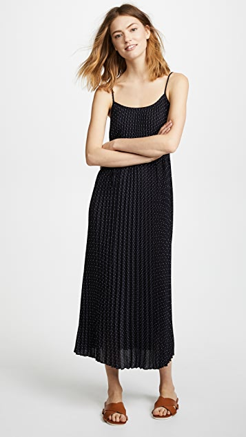 Vince Polka Dot Pleated Cami Dress