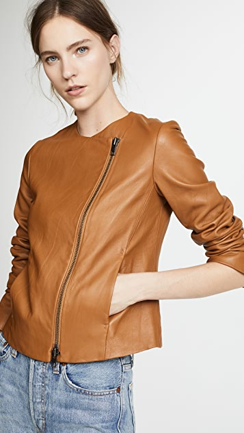 Vince Leather Cross Front Jacket